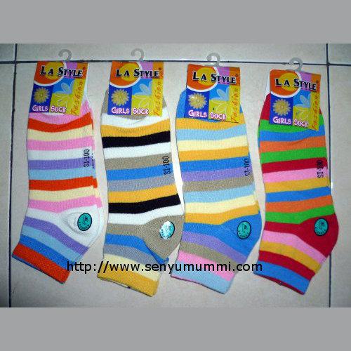 kaos kaki wanita girl socks no socks motif garis merek LA Style