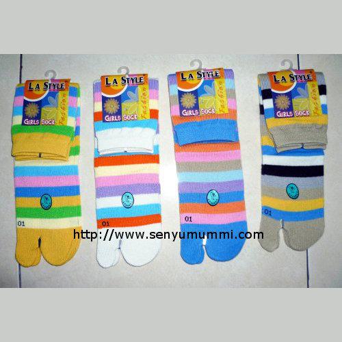kaos kaki jempol wanita girl socks no socks motif garis merek LA Style